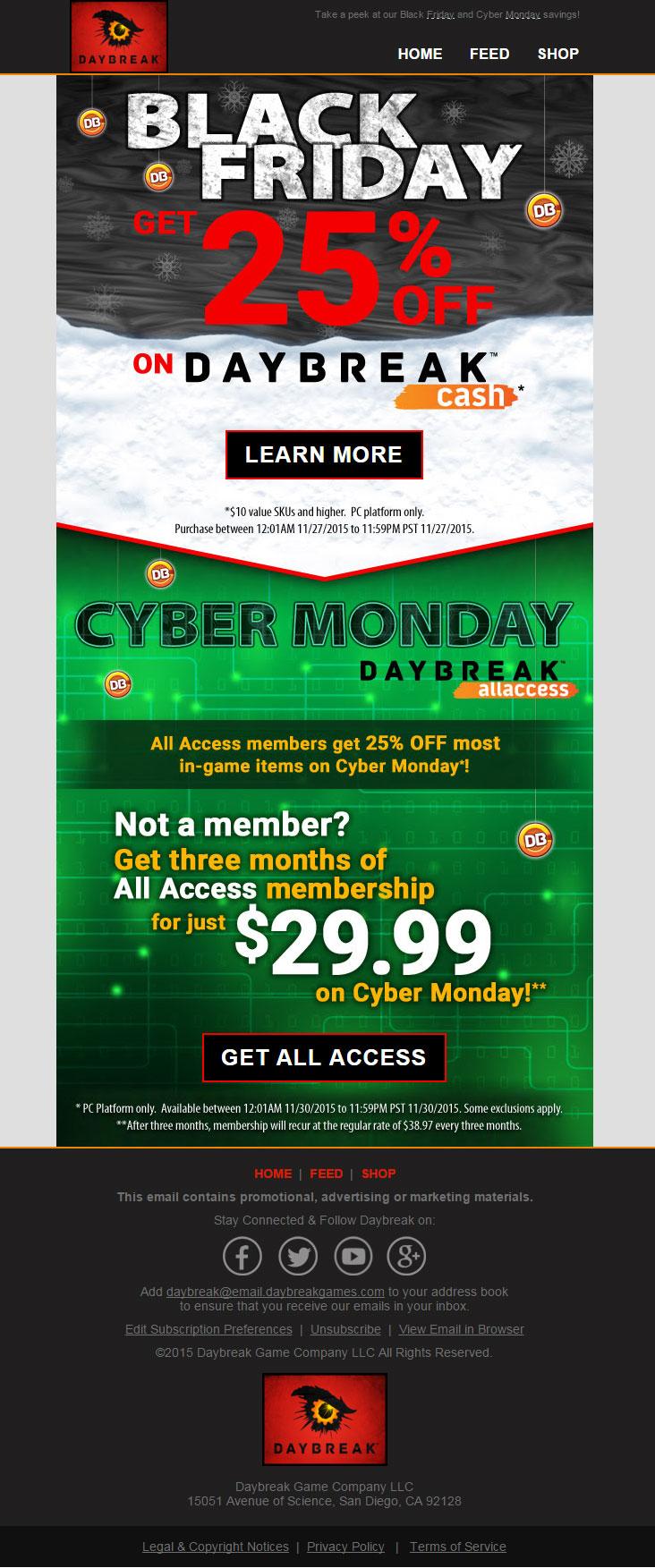 EQ2Wire » Daybreak Games Black Friday/Cyber Monday Details