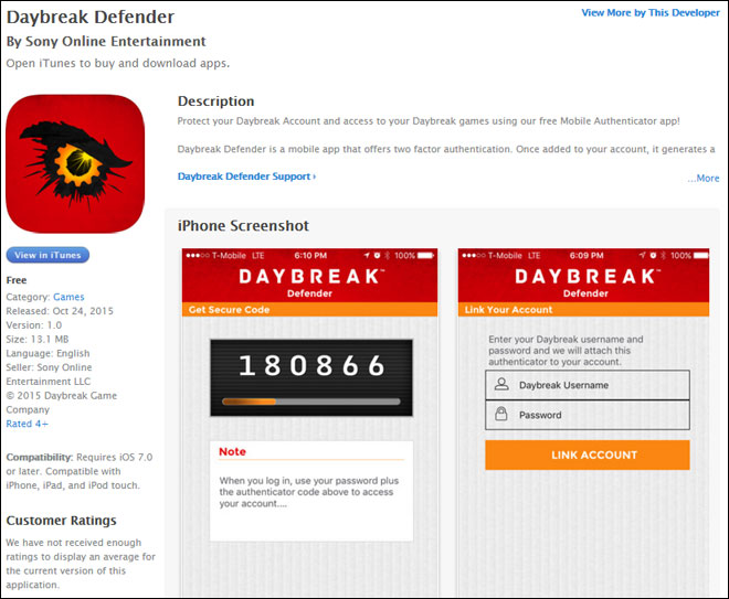 EQ2Wire » Daybreak Defender Mobile Authenticator App Appears