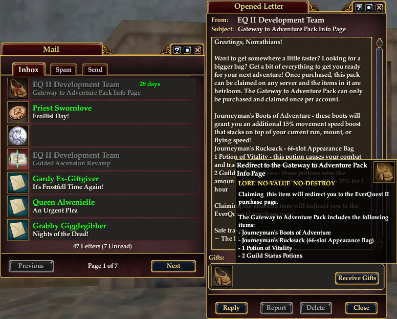 EQ2Wire » In-Game Mail Blast Requires EQ2 Subscribers to